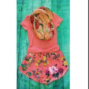 4/$10 Coral Floral Printed Shorts Flowy Summer